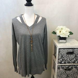 V-Neck Knit Cutout Pullover